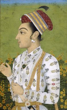 Assuming that I have correctly identified which of the Shah Shuja's portrait this is. Then Shah Shuja was born on 23 June in Ajmer. He was the second son and child of Mughal emperor Shah Jahan and his queen Mumtaz Mahal. Mughal Miniature Paintings, Mughal Paintings, Indian Art Paintings, Art Asiatique, Indian Folk Art, Mughal Empire, India Art, Traditional Paintings, Islamic Art