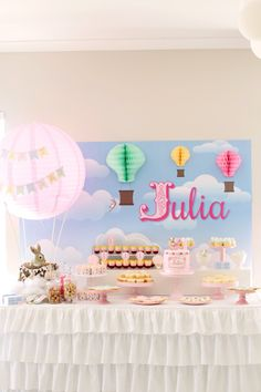Dessert Table from a Belle & Boo Bunny + Hot Air Balloon Party via Kara's Party Ideas | KarasPartyIdeas.com (27)