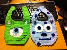 Mike and Sully, Monsters Inc, Baby Bibs~Kimberly Davis~