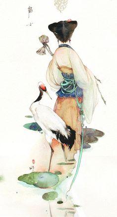 Woman and a crane illustration Japanese Painting, Chinese Painting, Japanese Watercolor, Chinese Artwork, Art Et Illustration, Illustrations, Simple Illustration, Art Chinois, Art Asiatique