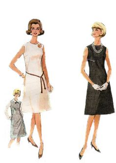 Perfect pattern for chic wardrobe builder. Sleeveless A Line dress or Jumper, slightly fitted falling gracefully into A Line skirt. Very Jackie O! Quick and easy to sew, perfect for lightweight wools, suedes, and tweeds for work, jersey for casual evening, and silks, velveteen, and shantung for event dressing. A very elegant dress.    From my shop Consutura Fashionista  $14.00