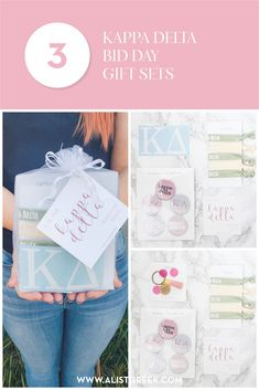 Create the perfect Bid Day gift pack for your Kappa Delta new members! Choose from three gift bag options: Newbie Love, Pref Present or Spoiled. Kappa Delta Gifts | Kappa Delta Bid Day | KD New Member Gifts | KayDee Rush Gift Bags | Kappa Delta Recruitment | Sorority Bid Day | Sorority Recruitment | Bid Day Bags | Sorority New Member Gift Ideas #BidDayGifts #SororityRecruitment