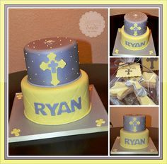 Yellow and Silver Baptism Cake!