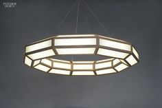 Framework Large Ring chandelier in ash and glass by Fort Standard