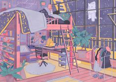 aesthetic anime drawing morning bedroom drawings inprnt manga illustration coffee arte prints fan rooms vacuumchan eclipsa inspiration uploaded user sketches