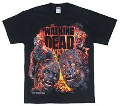The Walking Dead Fire Roasted Walkers Flaming Zombies T-shirt - Black (XX-Large) @ niftywarehouse.com