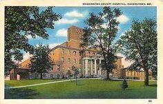 Hagerstown Maryland MD 1937 Washington County Hospital Vintage Linen Postcard