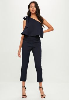 Missguided - Navy One Shoulder Bow Jumpsuit