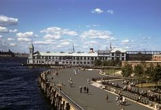 The Battery and Pier A in Lower Manhattan from the Staten Island Ferry. (Jersey City at left). New York. 1954 by wavz13, via Flickr
