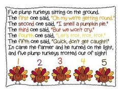 Five Plump Turkeys - Thanksgiving Shared Reading halloween fingerplays November Thanksgiving, Thanksgiving Art, Thanksgiving Preschool, Fall Preschool, Thanksgiving Projects, Preschool Music, Preschool Activities, Turkey Songs, Activities For Kids