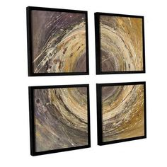 ArtWall Wooden Rings by Albena Hristova 4 Piece Framed Painting Print on Canvas Set Size: