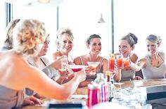 Pre-wedding cheers with your bridal party is a must!