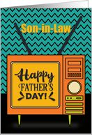 Happy Father's Day to Son in Law Retro TV Word Art