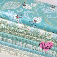 Fandango Kate Spain - Modern Dusty Blue Green Turquoise Paisley Floral Cotton Quilt Fabric 9 FAT QUARTER BUNDLE Kit