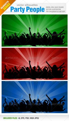 Party People  #GraphicRiver         Vector set of 3 different colors party people silhouettes.   Vector illustrations. You can resize at any size.   Ai, eps, psd, and jpeg files included in the zip file for each color.   You can see other silhouettes from my portfolio.   Please, dont forget to rate my vectors! Thank you      Created: 5December12 GraphicsFilesIncluded: PhotoshopPSD #JPGImage #VectorEPS