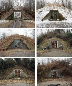 Photo typology of concrete igloos. Point Pleasant, West Viriginia. Photography by Joshua Dudley Greer.