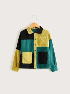 Color Blocking Outfits, Faux Shearling Coat, Cute Patches, Blazers, Cool Outfits, Fashion Outfits, Corduroy Jacket, Denim Shirt, Types Of Sleeves