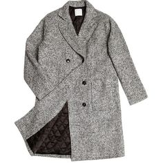 ssongbyssong Double-Breasted Wool Blend Coat ❤ liked on Polyvore featuring outerwear, coats, jackets, coats & jackets, double breasted coat, wool blend double breasted coat and wool-blend coat