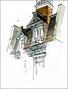 marc holmes. roof detail. watercolour and ink