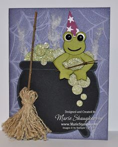 Frog Wizard & Cauldron punch art ~ Stampin UP-- cute twine broom!
