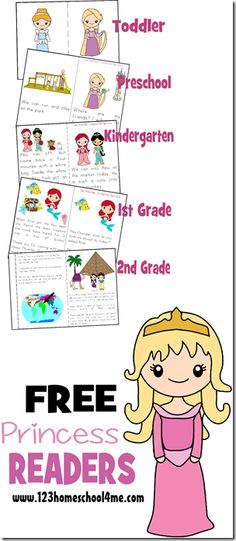 FREE Princess Readers (Toddler, Preschool, Kindergarten, 1st Grade, 2nd Grade) | 123 Homeschool 4 Me