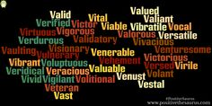 Positive Words That Begin With The Letter V