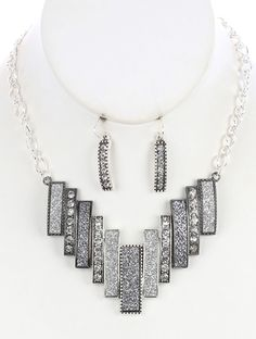 SIZE 16 INCH LONG COLOR Hematite  DESCRIPTION NECKLACE AND EARRING SET SHIMMER FINISH METAL BIB SEGMENTED CRYSTAL STONE TEXTURED AGED FINISH LINK CHAIN FISH HOOK 16 INCH LONG 1 1/3 INCH DROP NICKEL AND LEAD COMPLIANT
