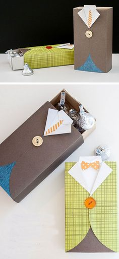 Men's Suit Gift Box and Treat Holder gift wrapping idea Diy Gifts For Men, Diy Father's Day Gifts, Father's Day Diy, Gifts For Him, Gift For Man, Man Gifts, Christmas Gift Wrapping, Christmas Gifts, Homemade Christmas