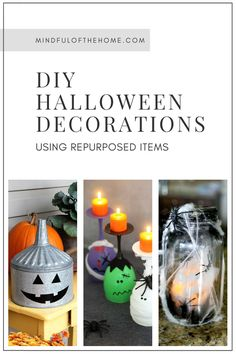 Halloween can be expensive and not so environmentally-friendly considering all the candy costumes and decorations. These DIY Halloween decorations using repurposed items will help you achieve a more eek-o-friendly Halloween. Halloween Cans, Halloween Stickers, Cute Halloween, Halloween 2020, Diy Halloween Decorations, Halloween Themes, Old Glass Bottles, How To Make Lanterns, Tea Candles