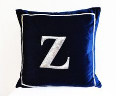 Navy Blue pillow  Monogram pillow  Silver sequin by AmoreBeaute