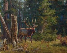 On The Hunt - elk - oil painting by Chad Poppleton