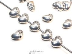 Puffy Heart Beads, Antique Silver Hearts, Bulk Metal Bead Findings, Decorative Beads, Pewter Beads, 7x6mm, 1mm Hole, Lots of 10 to 50, #1334