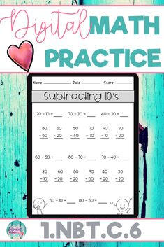 These math practice sheets allow your students to practice and gain mastery of the first grade standard 1.NBT.C.6; Subtracting 10's. Created in Google Slides, this resource can be used on a device in the classroom or at home for distance learning. These worksheets can also be used as an assessment tool so that you can move your instruction forward, tailor your students' instruction to their developmental level, provide feedback to students and parents, and use for grading. Click to see more!