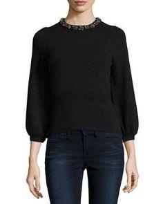 TD7NA Rebecca Taylor Embellished 3/4-Sleeve Pullover, Black