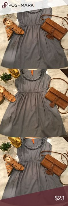 BCBG Generation Ruffle Dress  (M) BCBG Dress in the most beautiful shade of slate blue. Perfect little frock that can be easily dressed up or down and worn everywhere. Size M. Approx measurements with dress laying flat: L: 33.5 B: 19 BCBGeneration Dresses