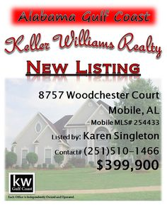 8757 Woodchester Court, Mobile, AL...MLS# 254433...$399,900...Style, elegance. comfort and so livable. Large master bedroom suite, located downstairs, 3 other bedrooms &  bonus room are located upstairs. The living room & dining room have beautiful hardwood floors, & the kitchen is newly updated with granite counter tops. Located on a cul-de-sac this home enjoys a large fenced back yard & gorgeous & inviting pool area (with cool-crete surround). Contact Karen Nicholson Singleton at 251-510-...