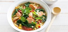 Salmon is full of omega-3 an works perfectly in this warming, medicinal soup. A healthy addition to your weeknight menu planner.