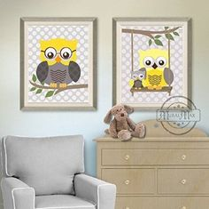 MuralMax - Nursery Owl Family Collection - Unframed Prints - Set of 2 - Size 8 x 10