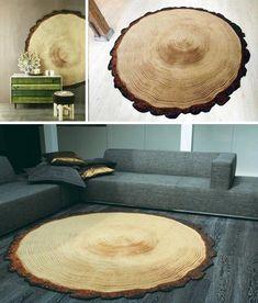 Sliced log rugs