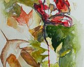 Flowers and leaves, original watercolor collage painting, landscape, alizarin red,green gold, olive green, yellow ochre, by Stacey Fletcher.