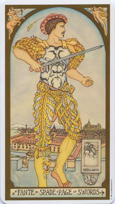 For October 5: The Page of Swords is a messenger telling you to face your problems head on. Though they may seem formidable now, if you examine the facts and bring a rational, clear mind, you will find a way. The Page also encourages you to be open to learning new things. From RENAISSANCE TAROT