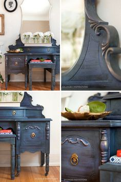 Painted and Layered Vintage Vanity Makeover - Salvaged Inspirations Vintage Bedroom Furniture, Painted Bedroom Furniture, Refurbished Furniture, Bedroom Vintage, Repurposed Furniture, Rustic Furniture, Furniture Makeover, Diy Bedroom Decor, Diy Furniture