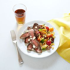 Good Housekeeping (July 2013): Grilled Flank Steak with Garden Salad - Simple grilled steak and a salad of sweet corn and juicy tomatoes make an easy and delicious summer meal.