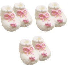 Zuckerfiguren Baby Schühchen Weiß Rosa für dekorierte Muffins und Kuchen zur Mädchen Baby Shower Party