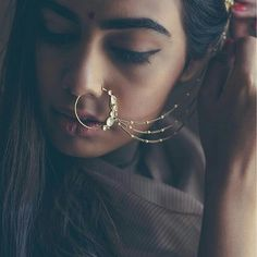 nose ring Latest Nose Pins, Nose Rings and Nose Accessories 2019 Indian Wedding Jewelry, Indian Bridal, Bridal Jewelry, India Jewelry, Ethnic Jewelry, Saris, Afro, Bridal Nose Ring, Nath Nose Ring