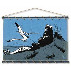 Panneau décoratif textile à accrocher au mur. Toile jean, imprimée manuellement en sérigraphie au 'cadre à plat'. Bois coloris bleu, cordage couleur chanvre, livré dans un sac de toile sérigraphié reprenant le visuel du panneau.  Format : 140x100 cm CE PRODUIT EST FABRIQUE EN FRANCE Existe aussi sur toile écru
