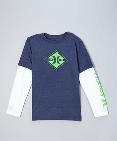 Look at this Hurley Midnight Navy Heat Loop Slider Layered Tee - Boys on #zulily today!
