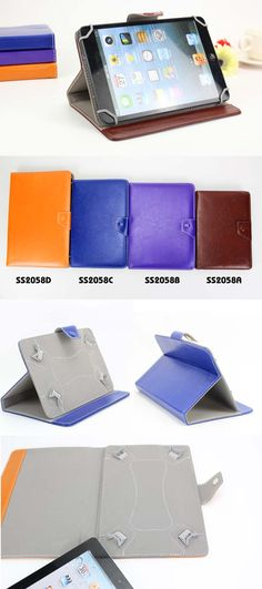 7'' pu leather universal tablet pc stand case  Logo: aviable for print, emboss,deboss  color: Black, Royal blue, brown, white, pink,purple,hot pink, red, dark blue  Description:     Material:  pu leather Size:   20.2*13.5*2.3CM avaible for  7/8/9/10.1 inch tablet pc Packing :       each in one opp bag Carton size :  66*43*31CM/100PCS www.ideagroupigm.com