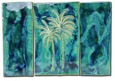 "Wall Art 3 Panel Palms Tree Design 30.5""x21.5"" LP26"