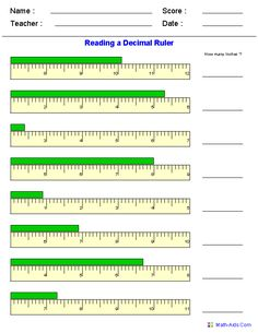 Reading a Decimal Ruler Worksheets